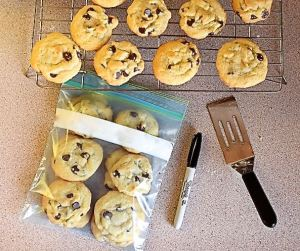 Here is how you should pack your cookies in a quart size bag. You're not required to label each bag, but it would be great if you did.